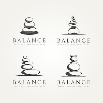 Set aus balancierendem minimalistischem klassischem logo-vorlagen-vektor-illustrationsdesign aus stein Premium Vektoren
