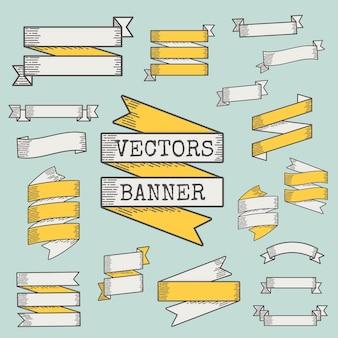 Set aus band und banner