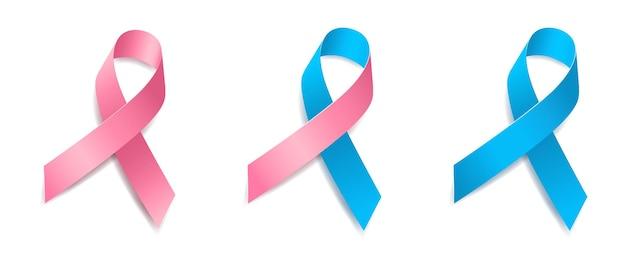 Set aus baumrosa und blauem bandbewusstsein stillende mütter, frauengesundheit, männlicher brustkrebs, männergesundheit, prostatakrebs. isoliert auf weißem hintergrund. vektor-illustration.