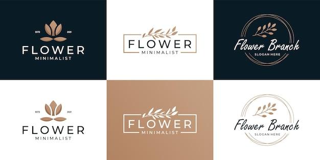 Set aus beauty-zweig und blumensträußen rahmen mit luxuriöser minimalistischer logo-kollektion.