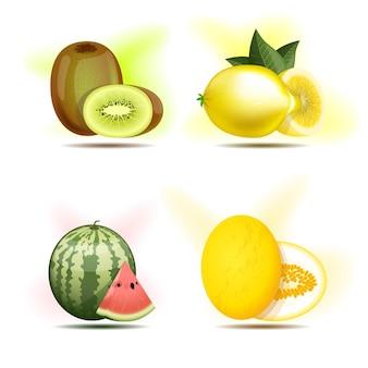Set aus beeren und früchten, kiwi, zitrone, wassermelone und melone.