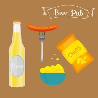 Set aus bierflasche, becher und snack im flachen stil. helles bier mit knusprigen kartoffelchips und würstchen. vektorillustration für banner, poster, restaurant- und pub-menü.