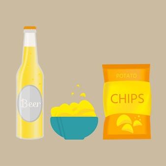 Set aus bierflasche, becher und snack im flachen stil. helles bier mit knusprigen kartoffelchips. vektorillustration für banner, poster, restaurant- und pub-menü.