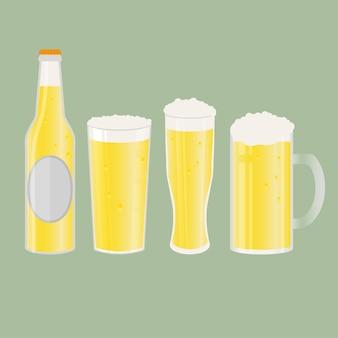 Set aus bierflasche, bechern und gläsern. vektorsymbol mit alkoholischen getränken. weizenbier, lager, craft beer, ale.
