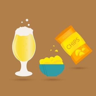 Set aus bierkrug und snack im flachen stil. helles bier mit knusprigen kartoffelchips. vektorillustration für banner, poster, restaurant- und pub-menü.