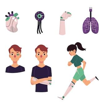 Set aus bionischen, künstlichen organen und prothesen