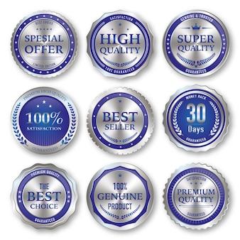 Set aus blauem und silbernem etikett