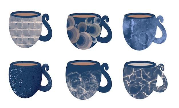 Set aus blauen keramiktassen und -bechern für kaffee-tee