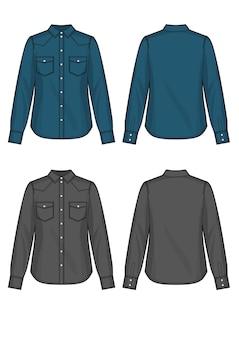 Set aus blauen und schwarzen denim-frauenhemden, vektorgrafiken, vorder- und rückseite