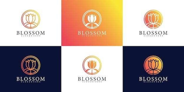 Set aus blüten-logo-design-kollektion mit modernem und frischem konzept premium vekto
