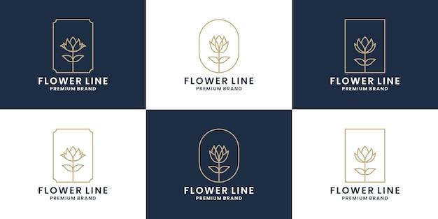 Set aus blumenlinie, rosenlinie, rahmenfloristen-logo-design-blumenladen