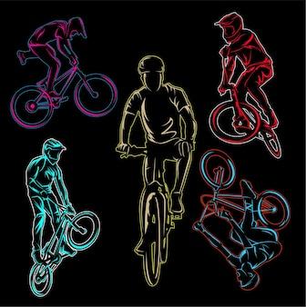 Set aus bmx-radfahrer und fahrrad-freestyle