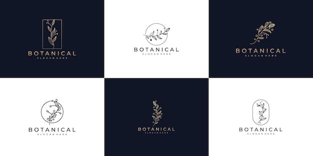 Set aus botanischen strichzeichnungen und naturlogo-design