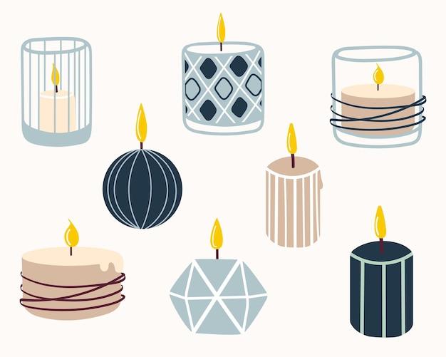 Set aus brennenden duftkerzen. handgezeichnete vektorillustration im doodle-stil. design für weihnachtskarten, aufkleber, druck, weihnachten, neujahr