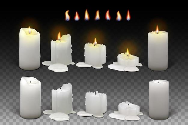 Set aus brennenden weißen kerzen auf transparentem hintergrund