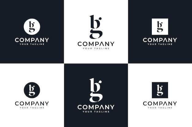 Set aus buchstaben bg logo kreatives design für alle zwecke