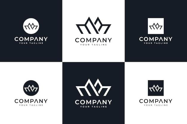 Set aus buchstaben mm logo kreatives design für alle anwendungen