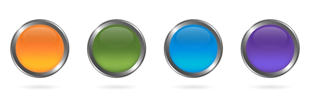 Set aus buntem rundem glasknopf mit silbernem rahmen