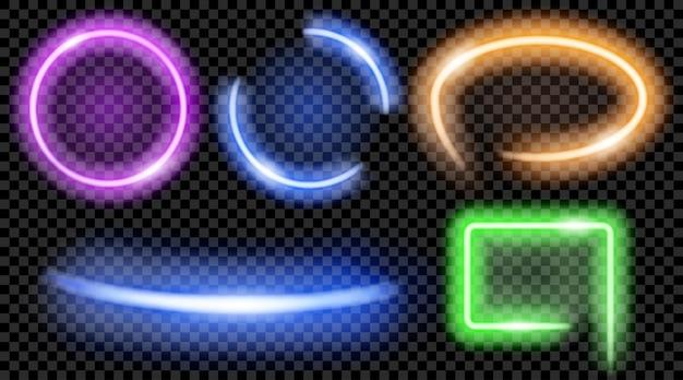 Set aus bunten durchscheinenden neonrahmen