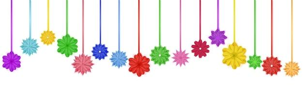 Set aus bunten papierblumen mit schatten, die an seilen hängen