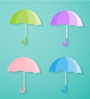 Set aus bunten regenschirm.
