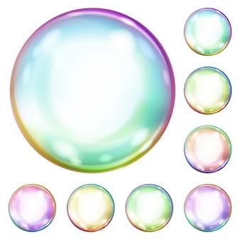 Set aus bunten undurchsichtigen seifenblasen mit blendungengla