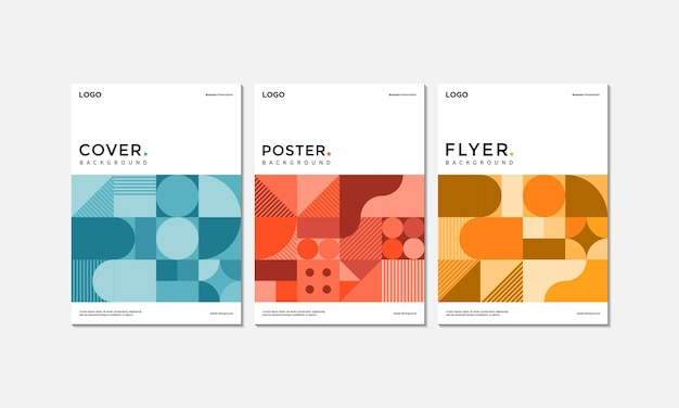Set aus business-cover-poster und flyer-vorlagen-design mit modernem geometrischem stil