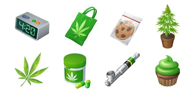 Set aus cannabis-produktions- und ausrüstungsbeutel mit marihuana-blatt-keks im plastikpack-verdampfer oder...