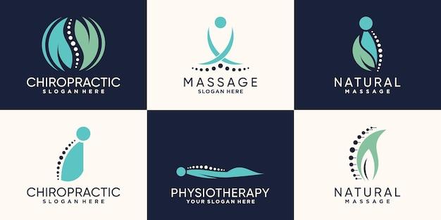 Set aus chiropraktik und massage-logo-design mit einzigartigem konzept premium-vektor