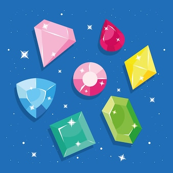 Set aus diamanten und edelsteinen
