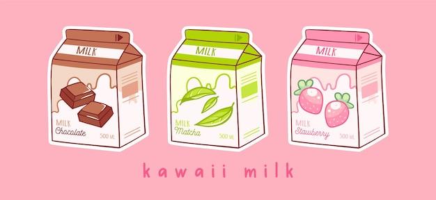 Set aus drei cartoons von milch drei verschiedene geschmacksrichtungen schokoladen-matcha und erdbeere asiatisches produkt