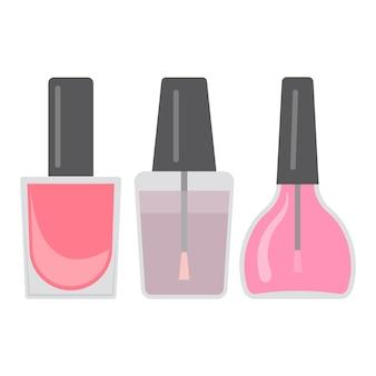 Set aus drei hellen nagellacken. vektor-illustration.