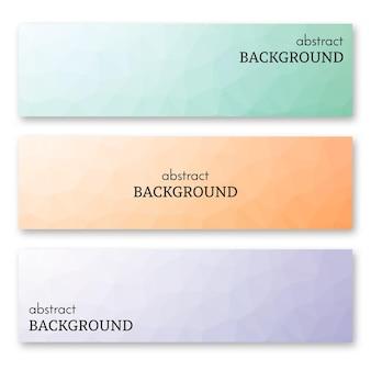 Set aus drei mehrfarbigen bannern im low-poly-art-stil. hintergrund mit platz für ihren text. vektor-illustration