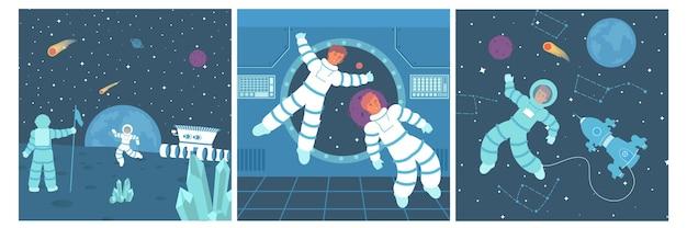 Set aus drei quadratischen kompositionen mit flachen kosmonauten im weltraum und raumfahrzeugen