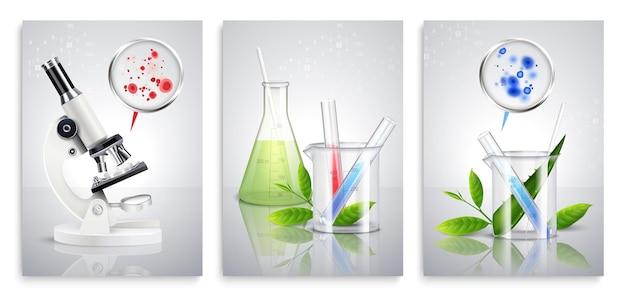 Set aus drei schimmelpilzbakterienkarten mit realistischen kolonieflecken von chemischen laborgeräten
