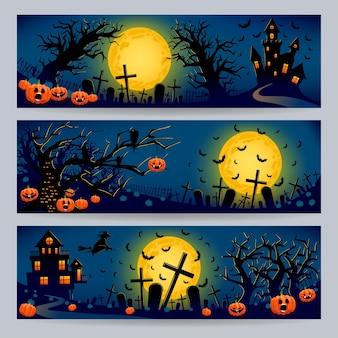 Set aus drei schönen bannern für halloween mit gräbern, bösen kürbissen und bäumen