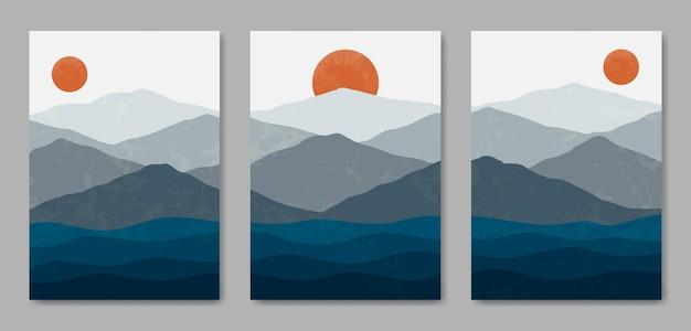 Set aus drei schönen zeitgenössischen ästhetischen minimalistischen landschafts-posterhüllen