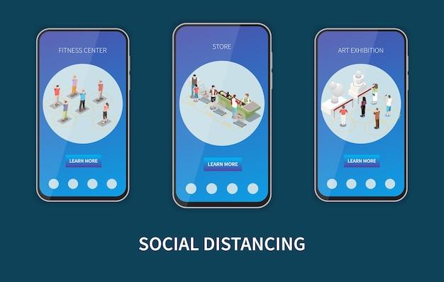 Set aus drei vertikalen bannern in smartphone-rahmen für soziale distanzierung