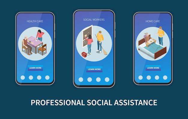 Set aus drei vertikalen mobilen bildschirmen mit professioneller sozialhilfe