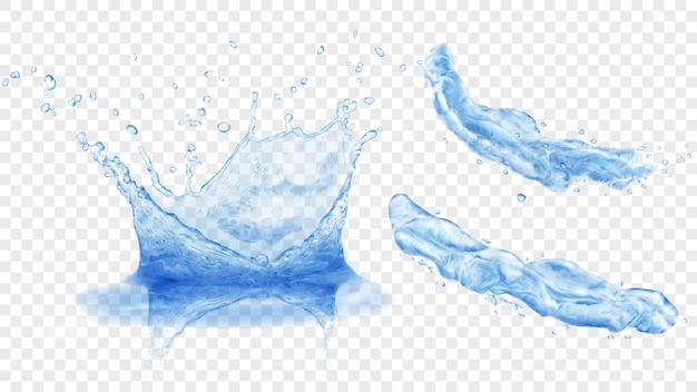 Set aus durchscheinender wasserkrone mit tropfen und zwei spritzern oder düsen in blauen farben