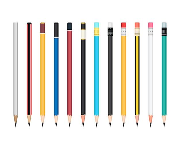 Set aus einfachen, angespitzten graphitstiften in farbigen holzetuis mit und ohne gummi. büro- und schulschreib- oder zeichnungsbriefpapiersammlung. vektor-illustration isoliert auf weißem hintergrund