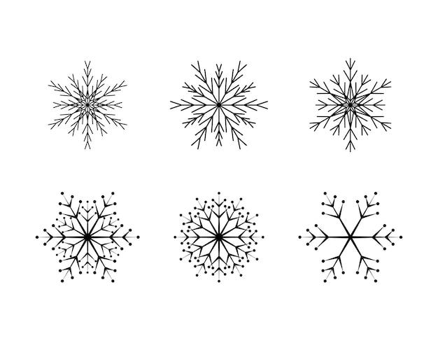 Set aus einfacher schneeflocke aus schwarzen linien festliche dekoration für neujahr und weihnachten
