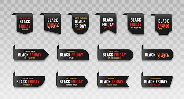 Set aus einzigartigen schwarzen bändern für verschiedene anwendungen gewellte scrollbänder