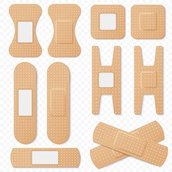 Set aus elastischen pflastern für medizinische klebebandagen. realistischer elastischer verbandfleck, medizinisches pflaster isoliert auf transperantem alpha-hintergrund.
