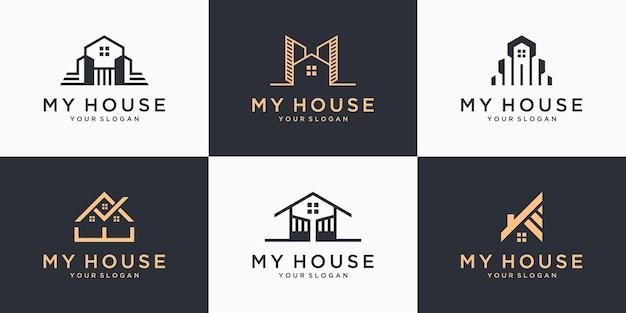 Set aus elegantem hauslogo mit linienkunstkonzept-logo-inspiration für immobilien