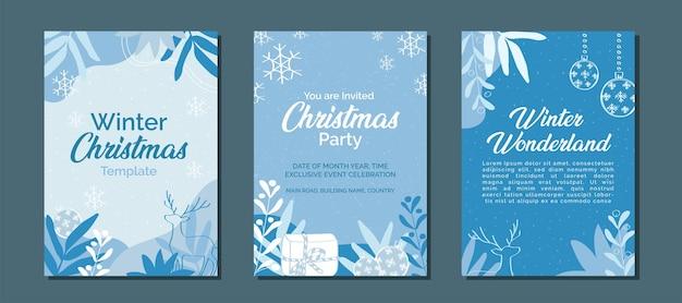 Set aus elegantem weihnachtswinterblau-monochrom für social-media-beiträge