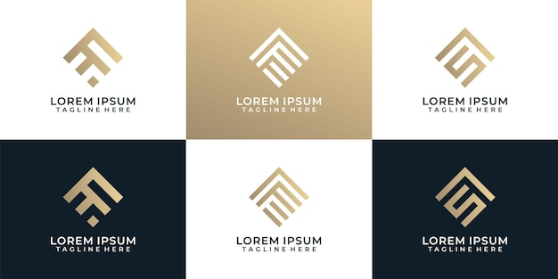 Set aus eleganter monogrammlinie abstrakter logo-design-inspiration