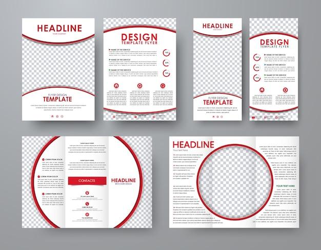 Set aus faltbroschüre, flyer und schmalem flyer mit roten designelementen und einem runden platz für fotos. vorlage im unternehmensstil.