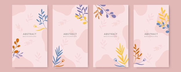 Set aus farbenfrohen social-media-geschichten-design-vorlagen mit blättern und wellen universelles kreatives organisches boho-design