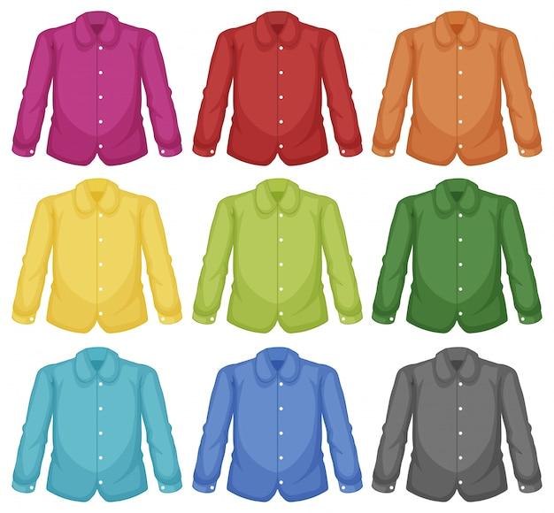 Set aus farbigem hemdkragen